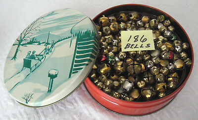 Lot of 186 Vintage Christmas Jingle Bells In Tin - Some On Straps -Various Sizes