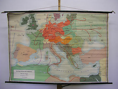 Schulwandkarte Wall Map Imperialismus Greater Germany War 139x95cm ~ 1955 Dr