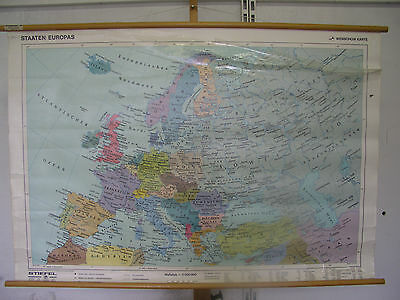 Schulwandkarte Beautiful Old Europakarte States Europe Vintage Map~1990 140x95cm
