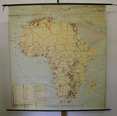 Schulwandkarte Wall Map Map Africa Mining Industry 151x162 ~ 1960 Map