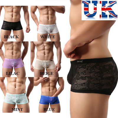 Mens Sissy Lace Boxers *6 Colours* Small, Medium & Large**UK Seller**