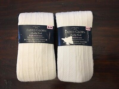 Toddler Girls Cotton Tights 6-18 Mos, white, Lot of 2 pair Size 6-18 Months