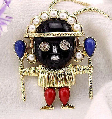 KJL Signed VOODOO Warrior WITCH Doctor BLACK Face Necklace Brooch Retro Vintage