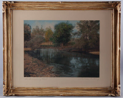 Ornately Framed Hand Tinted Landscape Photograph Antique Wallace Nutting Rare