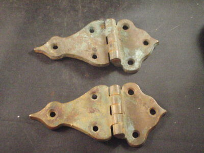 Antique Vintage Hardware Solid Brass Hinges Off Old Wooden Ice Box Marked Usa