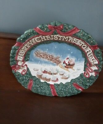 Vintage Fitz And Floyd Christmas Plate Merry Christmas To All