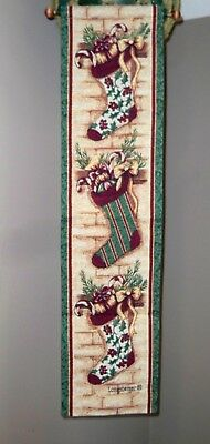 "Longaberger Tapestry Christmas Stocking Bell Pull Wall Hanging 36"" x 9"" - New"