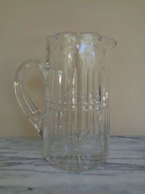 """Antique Crystal Glass Pitcher 9"""""""