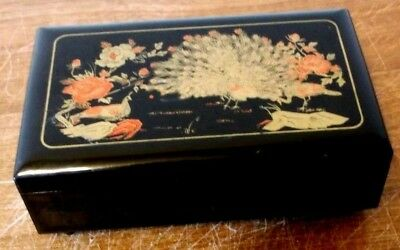 A Lovely Vintage Peacock On Black Red Lacquer Ballerina Music Jewelry Box
