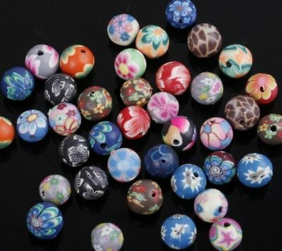 Wholesale 50pcs Mixed Polymer Clay Fimo Flower Round Loose Spacer Beads 10mm New