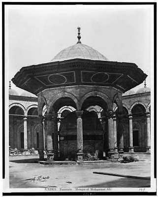 Cairo,Fountain,Mosque,Mohammet Ali,arches,columns,roofs,Egypt,A Beato,1870