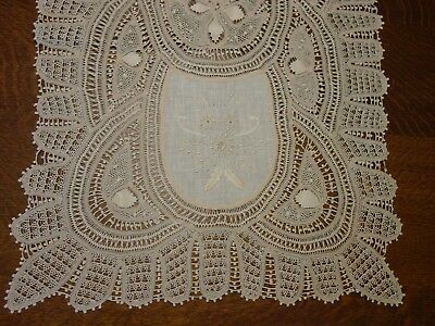 "Antique Runner Fabulous Linen,Lace,Embroidery 16 x 47"" Handmade, Pristine"
