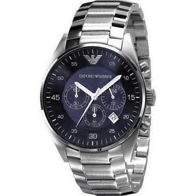 Emporio Armani AR5860 Blue Stainless Steel Chronograph Mens Watch