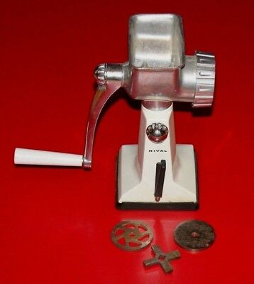 Vintage RIVAL Meat Grinder Food Chopper Grind-O-Mat  #303 USA White Kitchen
