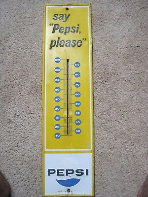 "Vintage Pepsi-Cola Say ""Pepsi Please"" Thermometer ORIGINAL  7"" X 28"" Sign"