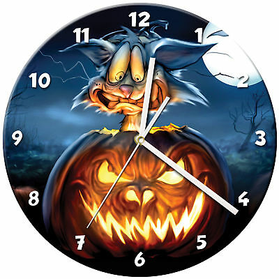 Halloween Glass Wall Clock Learn Gift Bedroom Gaming Kids - 02