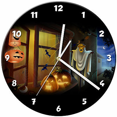 Halloween Glass Wall Clock Learn Gift Bedroom Gaming Kids - 15