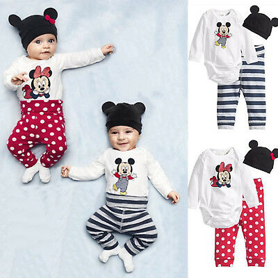 3Pcs Baby Kids Boys Girls Mickey Mouse Romper Pants Bodysuit Outfits Set Clothes