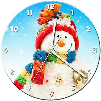 Snowman Christmas Glass Wall Clock Learn Gift Bedroom Gaming Kids - 06