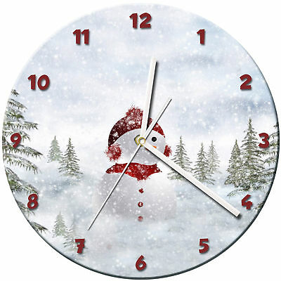 Snowman Christmas Glass Wall Clock Learn Gift Bedroom Gaming Kids - 12