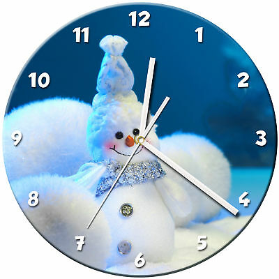 Snowman Christmas Glass Wall Clock Learn Gift Bedroom Gaming Kids - 02