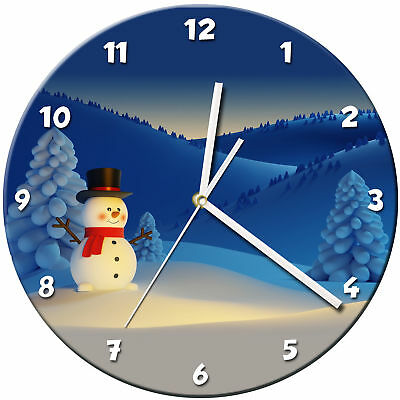 Snowman Christmas Glass Wall Clock Learn Gift Bedroom Gaming Kids - 13
