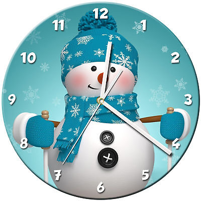 Snowman Christmas Glass Wall Clock Learn Gift Bedroom Gaming Kids - 04