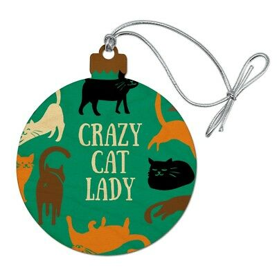 Crazy Cat Lady Teal Orange Black Brown Wood Christmas Tree Holiday Ornament