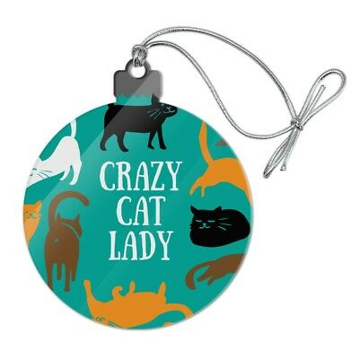 Crazy Cat Lady Teal Orange Black Brown Acrylic Christmas Tree Holiday Ornament