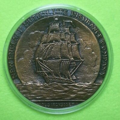 (S119A/d) Vintage New England Mutual Life Insurance Uss Constitution Paperweight