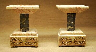 Pair of Antique Marble Regency Style Candle Holders Hollywood Regency Style