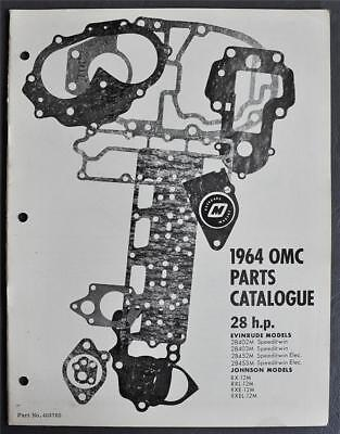 Orig 1964 OMC Evinrude Johnson 28HP Parts Catalog 8-Models Included P/N403765