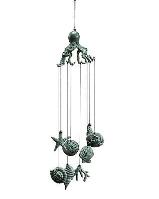 Octopus Wind Chimes 30 Inch Cast Iron Garden Decor
