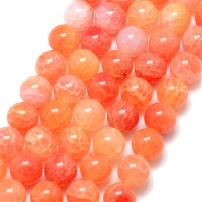 Edelstein Crackle Achat Perlen 8mm Orange Schmuckstein Bastelperlen WOW G760