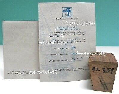 Wood from the USS CONSTITUTION ~ Old Ironsides ~ w Certificate of Authenticity
