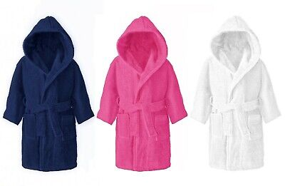 Kids Childrens 100% Cotton Bathrobe Terry Towelling Hooded Bath Robe Gown 4-12 .