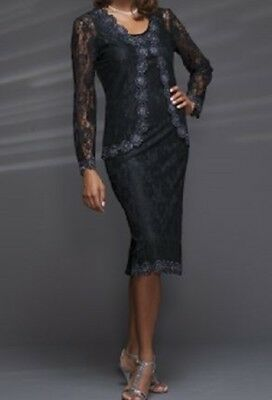 size 8  Allison Black Beaded Jacket Dress wedding formal church by Ashro new