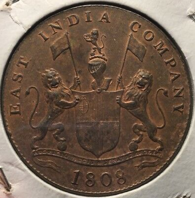 Admiral Gardner Shipwreck- East India Company 1808  20 cash , High Grade -Scarce
