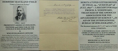 FATHER of ZOOLOGY WWI CIA OFFICER ZOOLOGIST SCIENTIST FIELD LETTER SIGNED 1897 !