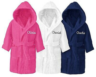 Personalised Kids Childrens Bathrobe Terry Towelling Hooded Bath Robe Gown 4 -14