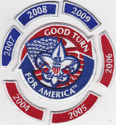 Good Turn For America Center Patch And 6 Rockers * 2004 Thru 2009