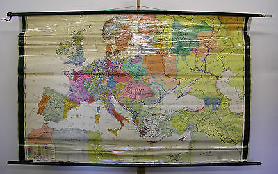 Schulwandkarte Old School Map Europa in the 15.jahrhundert 202x129cm ~ 1960