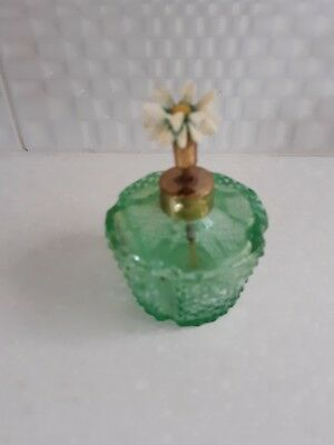 Vintage I rice Green Glass Perfume Bottle with Flower Pump