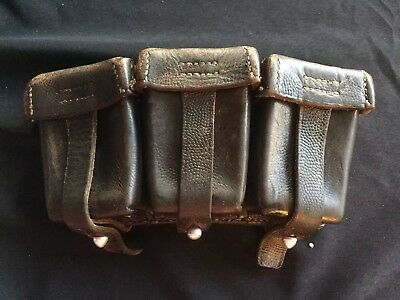 Vintage Army Military Belt 3 Compartment Leather Ammo Cartridge Pouch