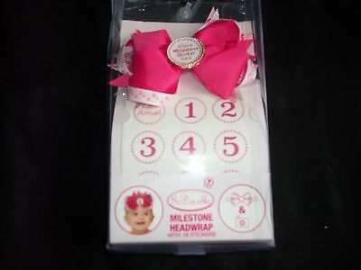 So Adorable Milestone Headwrap With 18 Stickers For Baby Girl