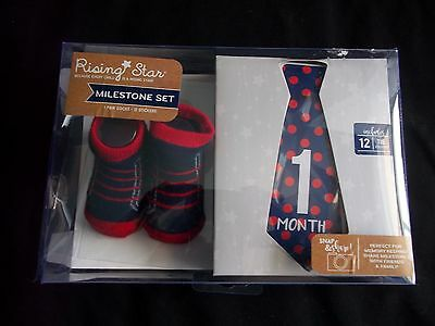 Rising Star Baby Boy Milestone Set With 1 Pair Of Socks And 12 Stickers