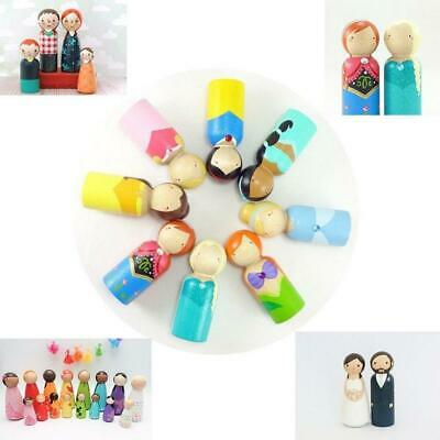 40x Unfinished Wood Peg Dolls Wooden Peoples DIY Crafts Wedding Cake Toppers