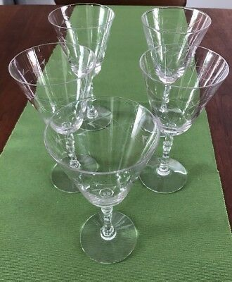 Set of 5 antique etched wine or water glasses goblets, shaped stems