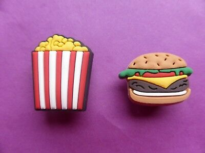 4 Burger Hamburger & Fries jibbitz croc shoe charms wrist loom band cake toppers