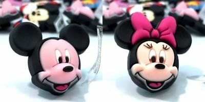2 Mickey Mouse Minnie 3D heads jibbitz crocs shoe charms loom band cake toppers
